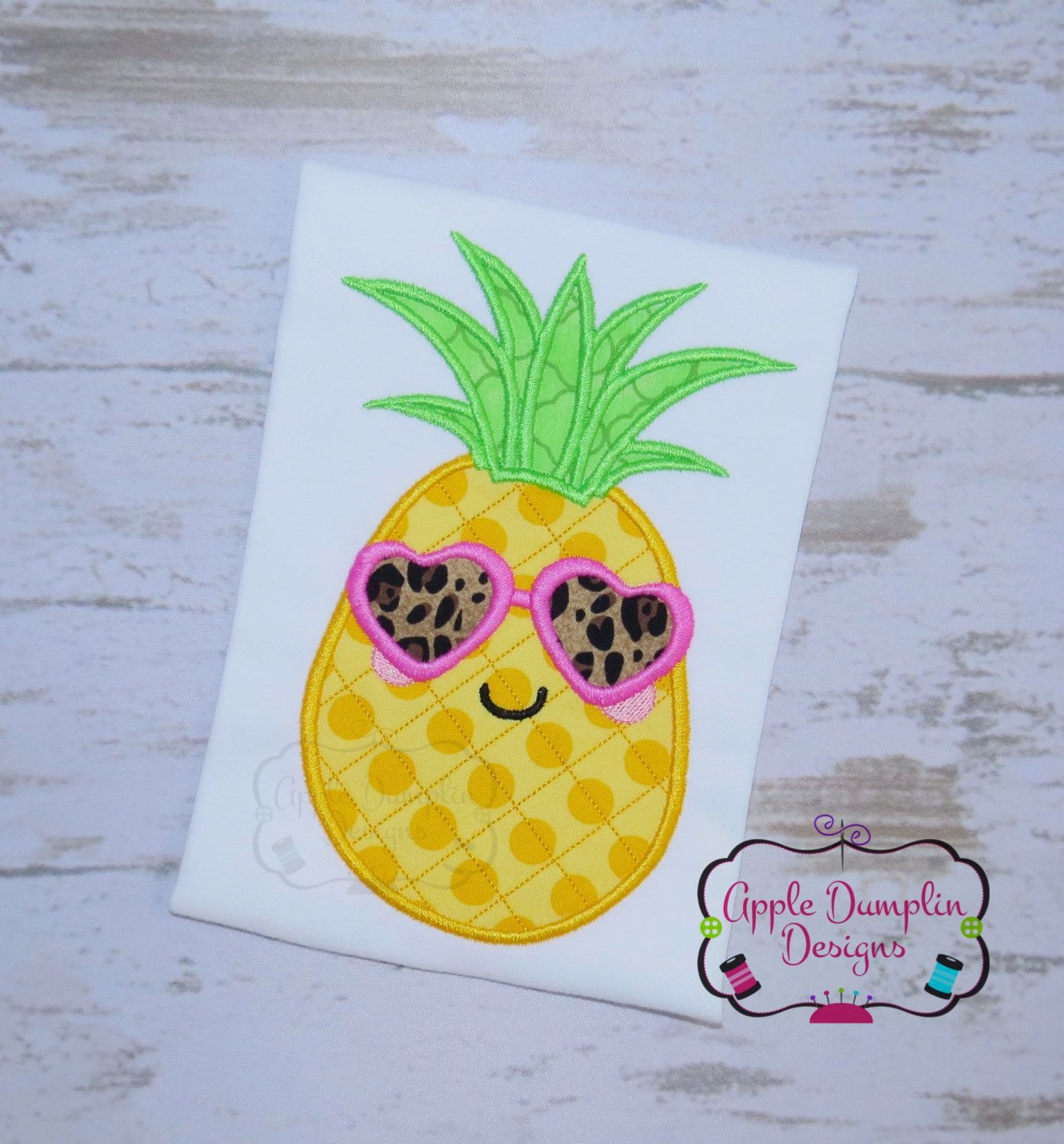 Cool Pineapple Girl With Sun Glasses Applique