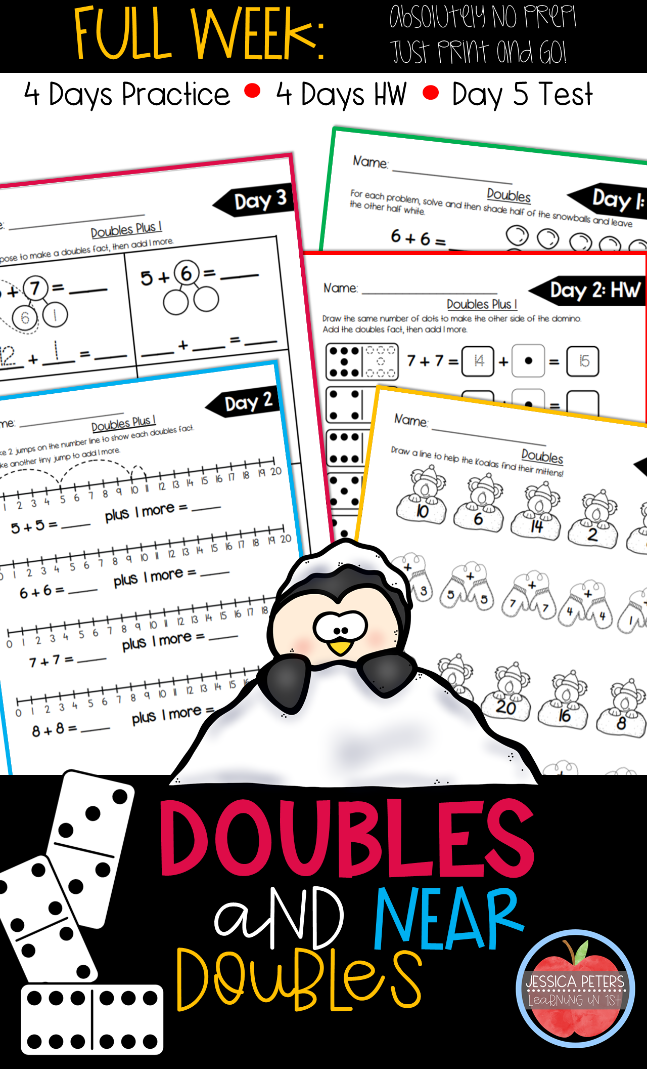First Grade Math Doubles And Near Doubles Doubles Plus 1 Full Week Worksheets First Grade Math Math Doubles Math [ 2112 x 1280 Pixel ]