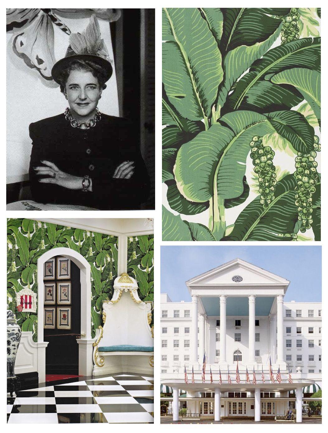 "Decorator, Dorothy Draper's ""Braziliance Palm"" Wallpaper"