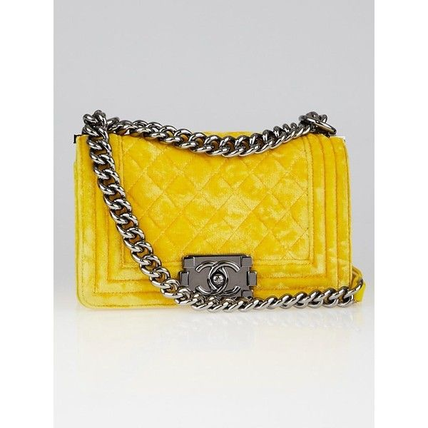 0c3b6732a577 Pre-owned Chanel Yellow Quilted Velvet Small Boy Bag ($2,295) ❤ liked on  Polyvore featuring bags, handbags, velvet purse, yellow handbags, ...