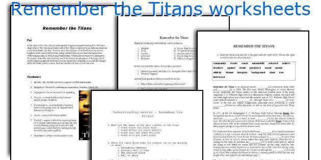 Remember The Titans Worksheets Remember The Titans Pinterest