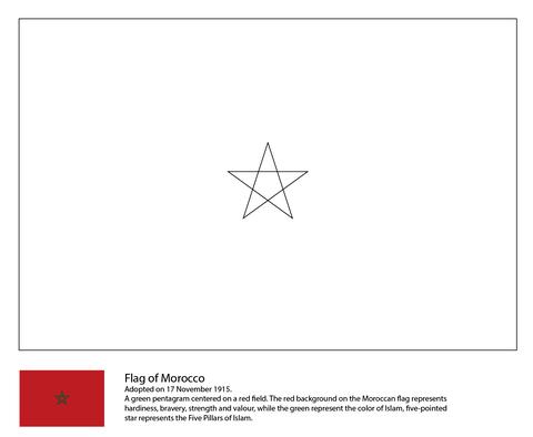 Flag Of Morocco Coloring Page Free Printable Coloring Pages Coloring Pages Flag Coloring Pages Flag Printable