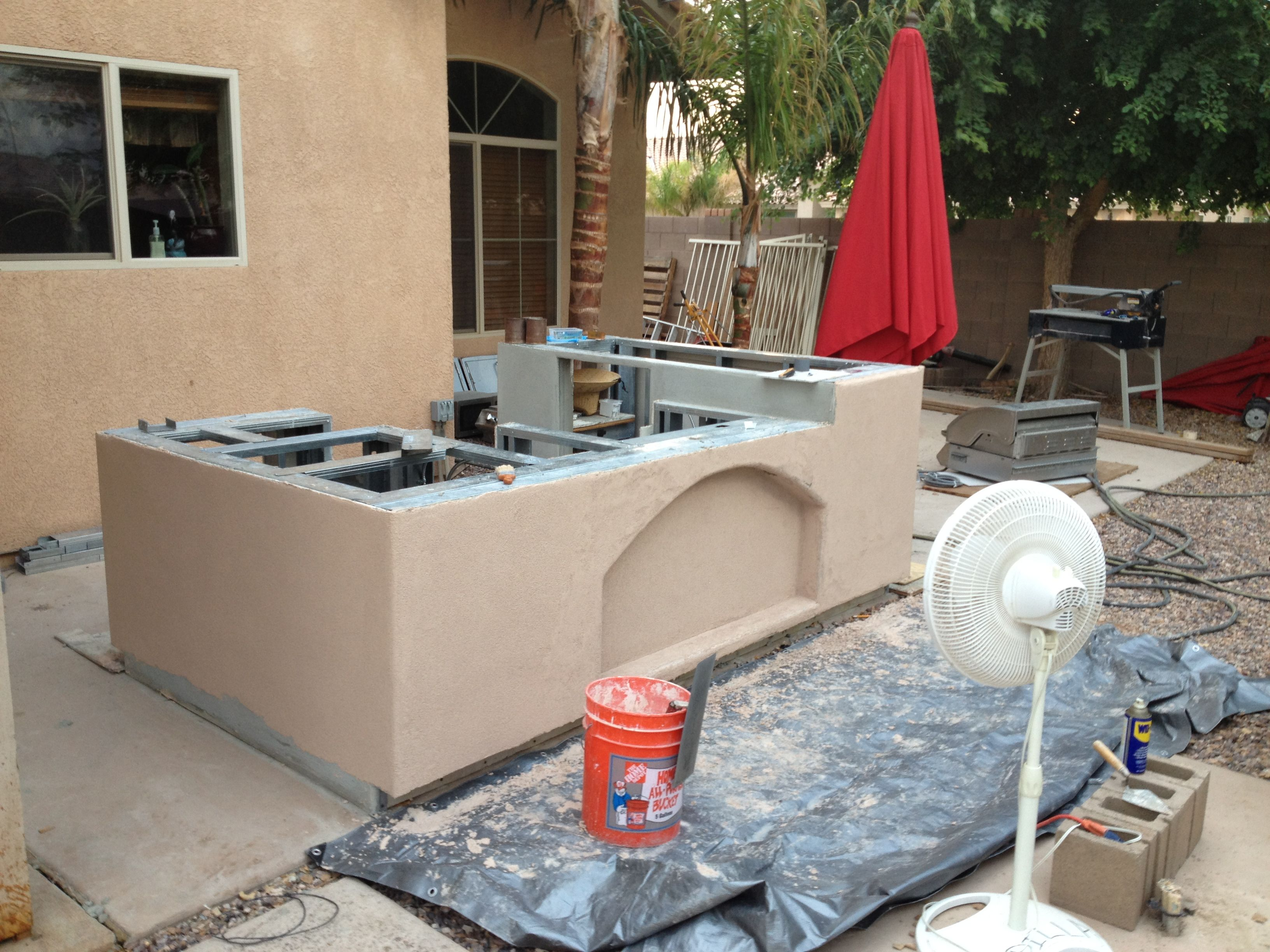 synthetic stucco used on an outdoor kitchen | diy | pinterest