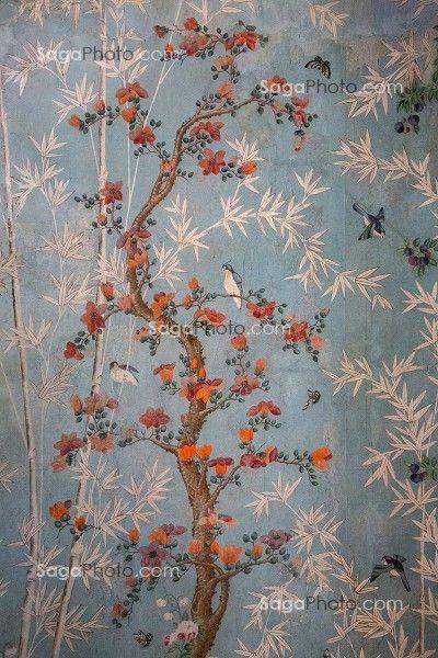 Chateau de Maintenon - Papier peint chinois de la salle de bain ...