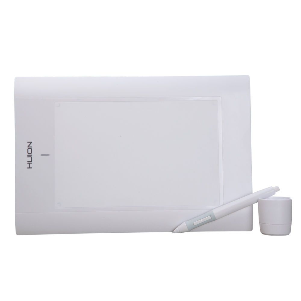 HUION 580 Graphics Drawing Tablets Battery Pen 8x5 Inch 2048 Pen Pressure White