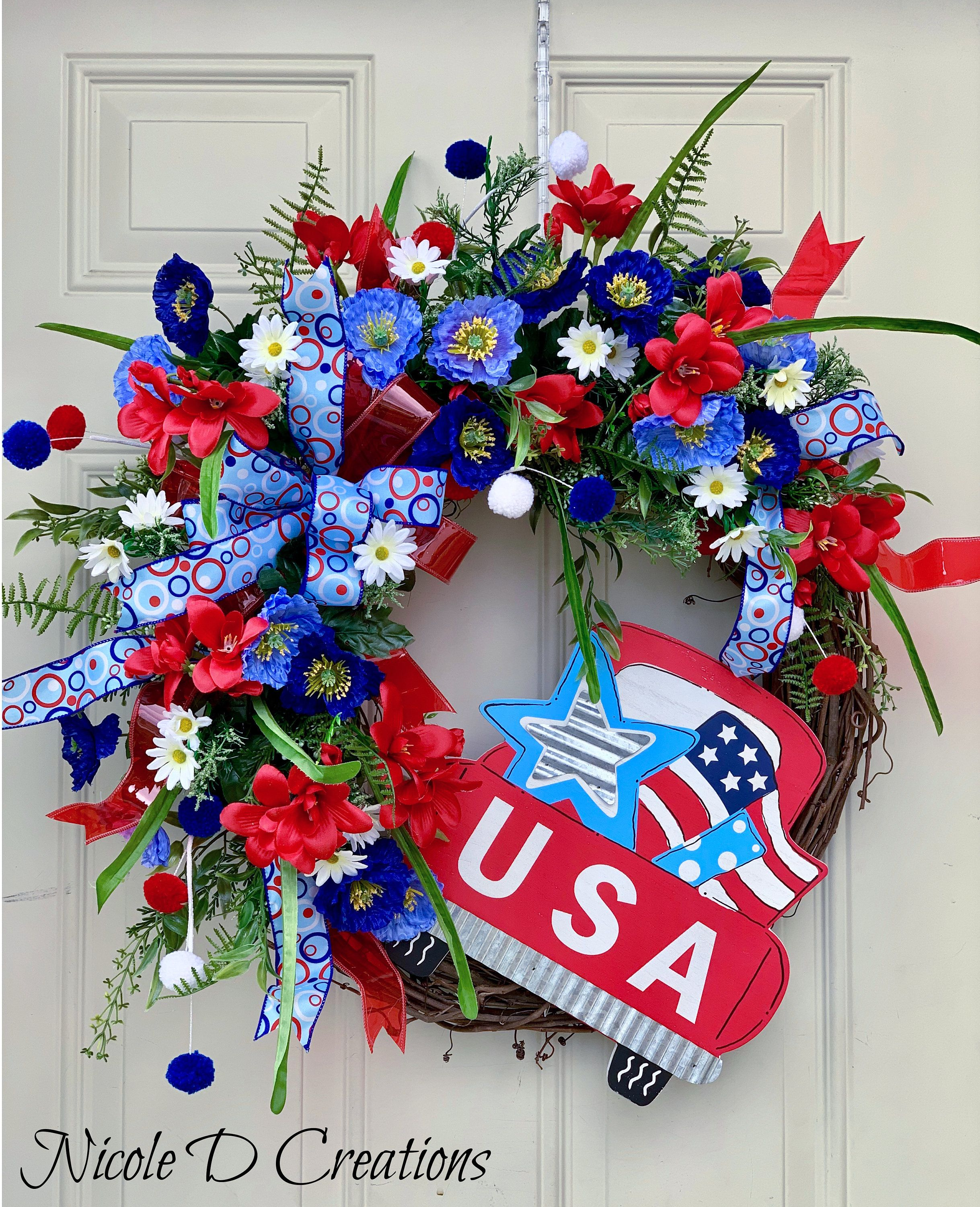 Photo of Items similar to Patriotic 4th of July Grapevine Wreath- Summer Independence Day wreath for front door-Americana Grapevine Wreath- Wreath for front door on Etsy