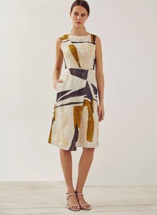 2a28b6bd01 Vestido de lino con tablón lateral - Vestidos