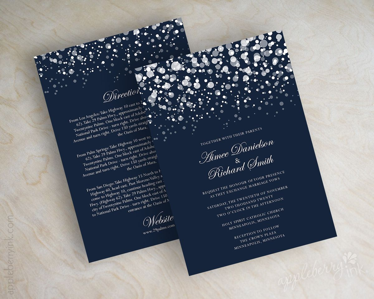 Navy Blue And Silver Wedding Invitations: Navy Blue And Silver Polka Dot Snow Wedding Invitations