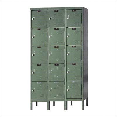 Hallowell Premium 5 Tier 3 Wide Traditional Locker Dimensions W X D X H 12 X 12 X 60 Color Hallowell Grey Employee Lockers Hallowell Locker Designs