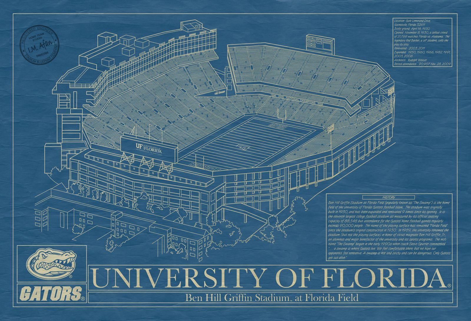 University of florida stadium as a unique blueprint style framed university of florida stadium as a unique blueprint style framed piece of art malvernweather Images