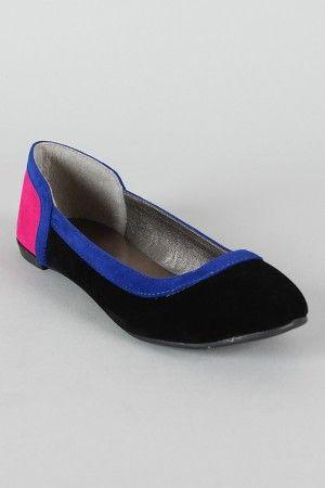 Qupid Salya-550 Colorblock Round Toe Ballet Flat