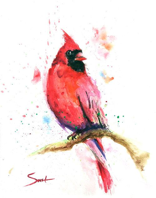 Red Cardinal Bird Watercolor Painting Art Print Wall Decor