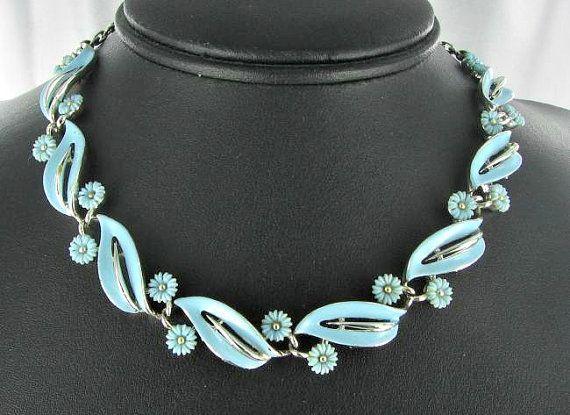 Lisner Vintage blue enamel flower leaf by vintagejewelrylane