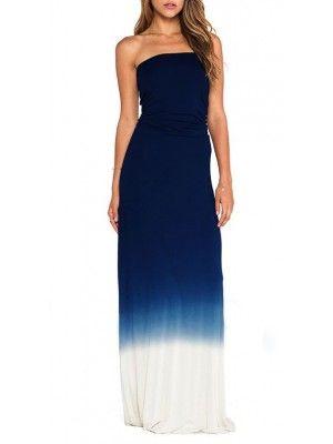 Vestiti Lunghi Donna Blu Mare Casual 110090  dfe92eeb03f