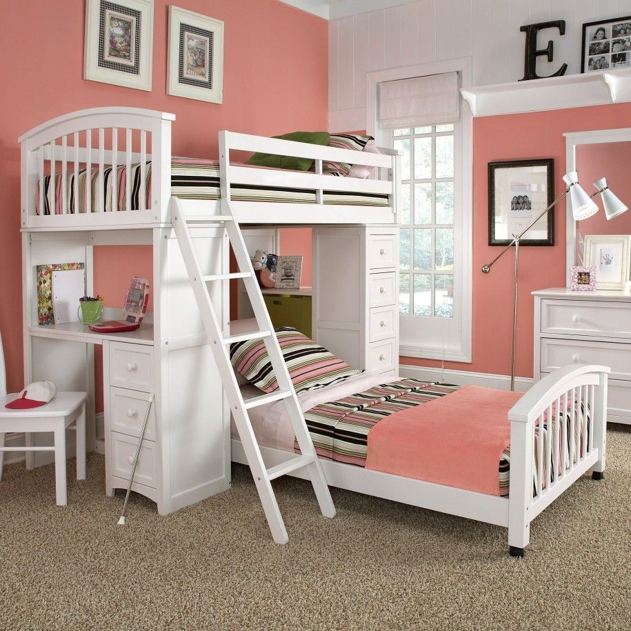Bedroom design for 2 girls - Gorgeous Girls Shared Room Design Featuring White Finish Oak Wood Bunk Beds Connected With Study Desk Which Has Storage Drawers Using Round White Metal
