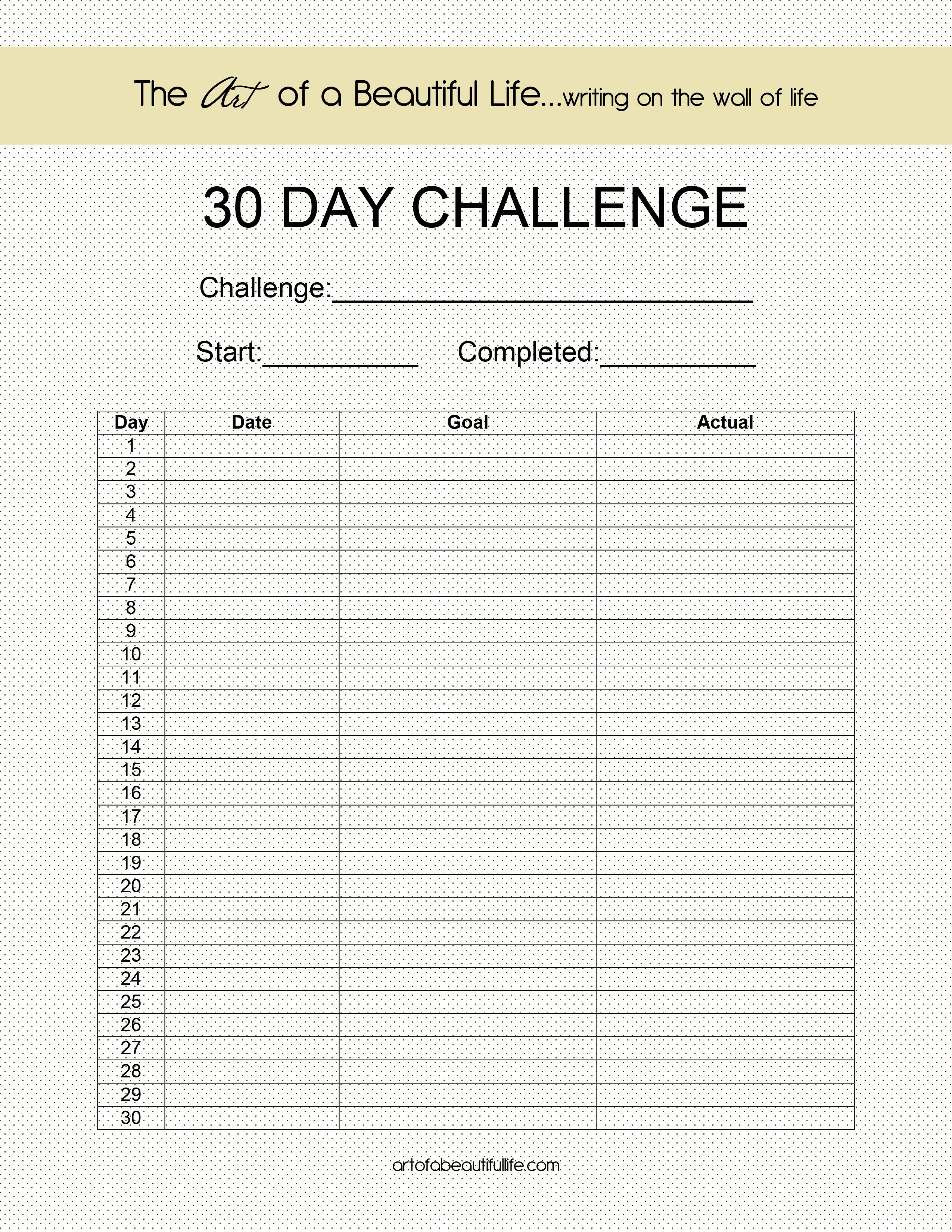 Blank 30 Day Challenge With Images