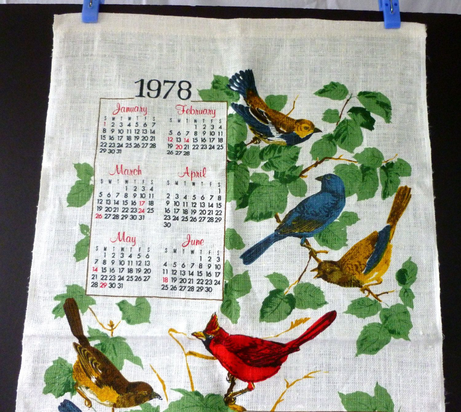 Vintage 1978 Linen Calendar, Kitchen Tea Towel with a Varity of Printed Birds by Vintage42Day on Etsy