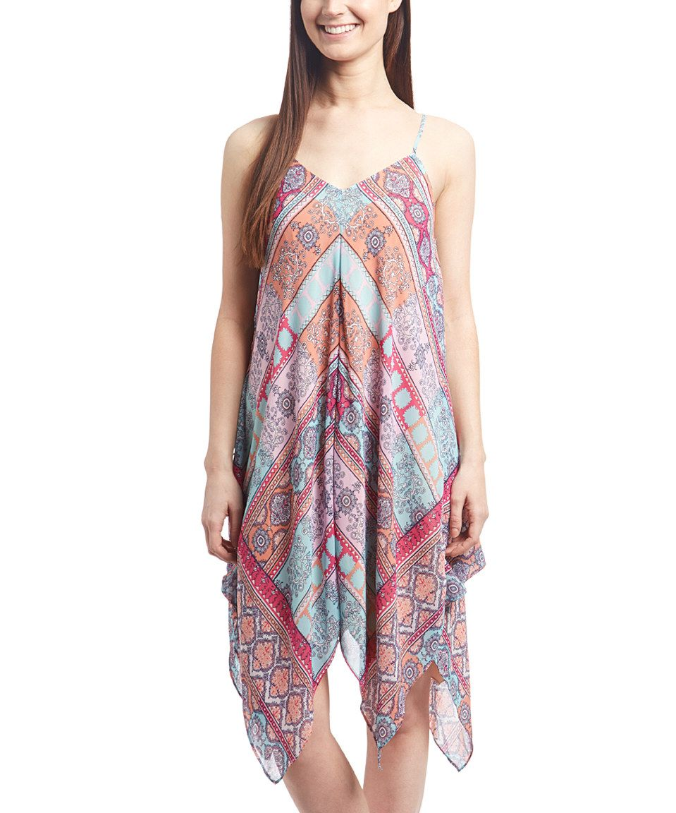 Look what I found on #zulily! Speechless Aqua & Fuchsia Geometric Handkerchief Dress by Speechless #zulilyfinds