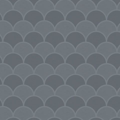 Slate Scallops contact paper / shelf liner. This scallop pattern features shades of medium and dark gray.