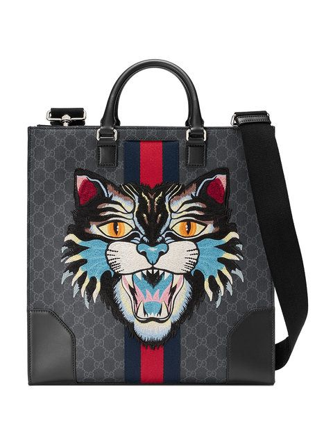 ccbcc042d7a GUCCI GG Supreme tote with Embroidered Angry Cat.  gucci  bags  canvas  tote   leather  lining  shoulder bags  linen  hand bags  nylon  cotton