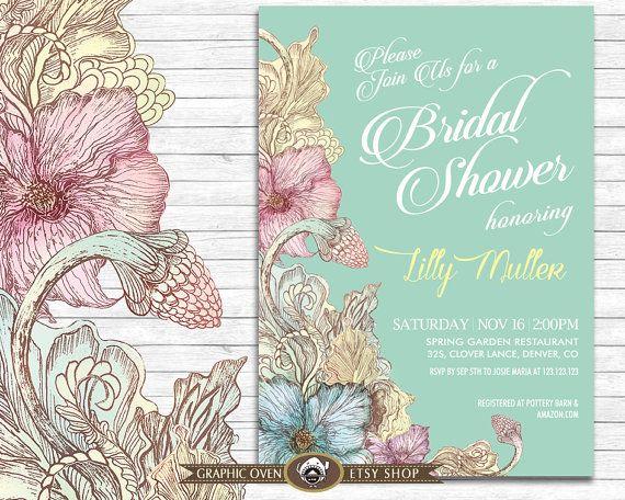 Bridal Shower Invite  Vintage Floral Invitation  by ShopGO on Etsy