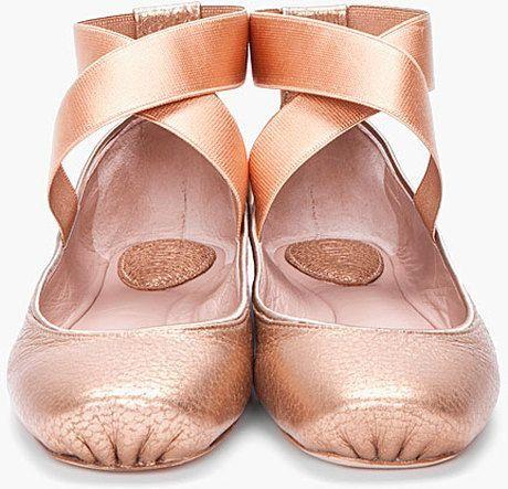 e88ff91b1f0 CHLOÉ Pink Gold Ballerina Flats