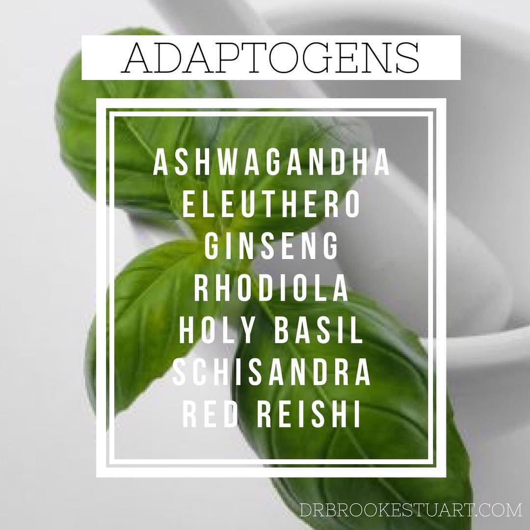 Adaptogens are a category of herbs that can help you to handle stress. Adaptogenic herbs support the HPA axis, boost energy levels, improve sleep and strengthen the immune system.  Examples include Ashwagandha, Eleuthero, Ginseng, Rhodiola, Holy Basil, Schisandra, and Red Reishi.  www.drbrookestuart.com