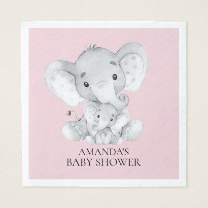 Elephant Girls Baby Shower Paper Napkins Zazzle Com Baby Shower Paper Elephant Baby Shower Boy Neutral Baby Shower