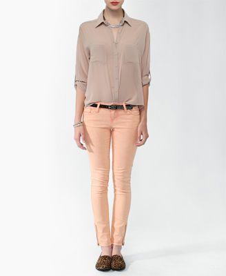 Acid Wash Skinny Jeans w/ Studded Belt | FOREVER21 - 2011408765