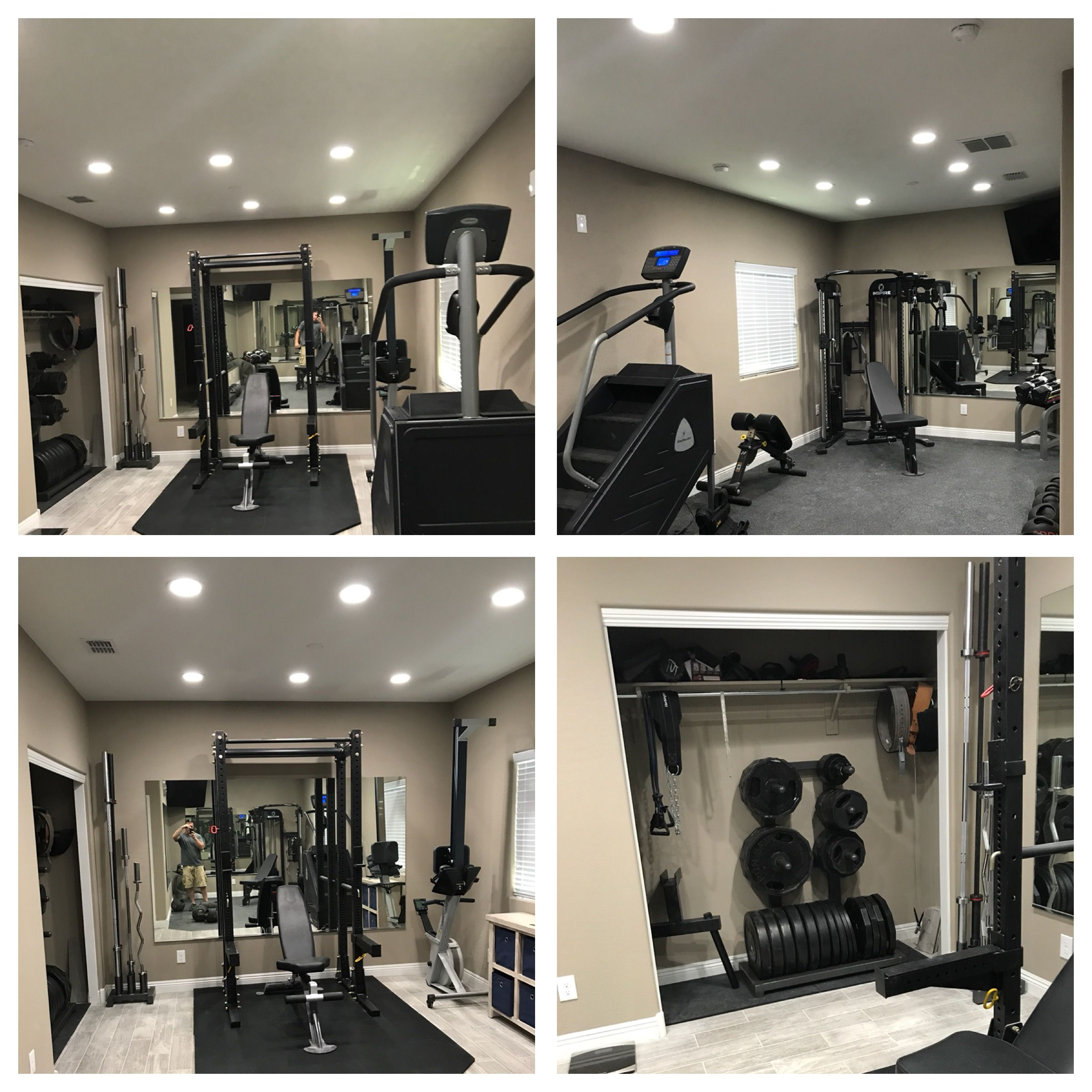 Home Gym I Started Out Using A Spare Bedroom And Ending Up Knocking Down A Wall To Use Two Spare Rooms Total Cost Wa Spare Room House Interior Spare Bedroom