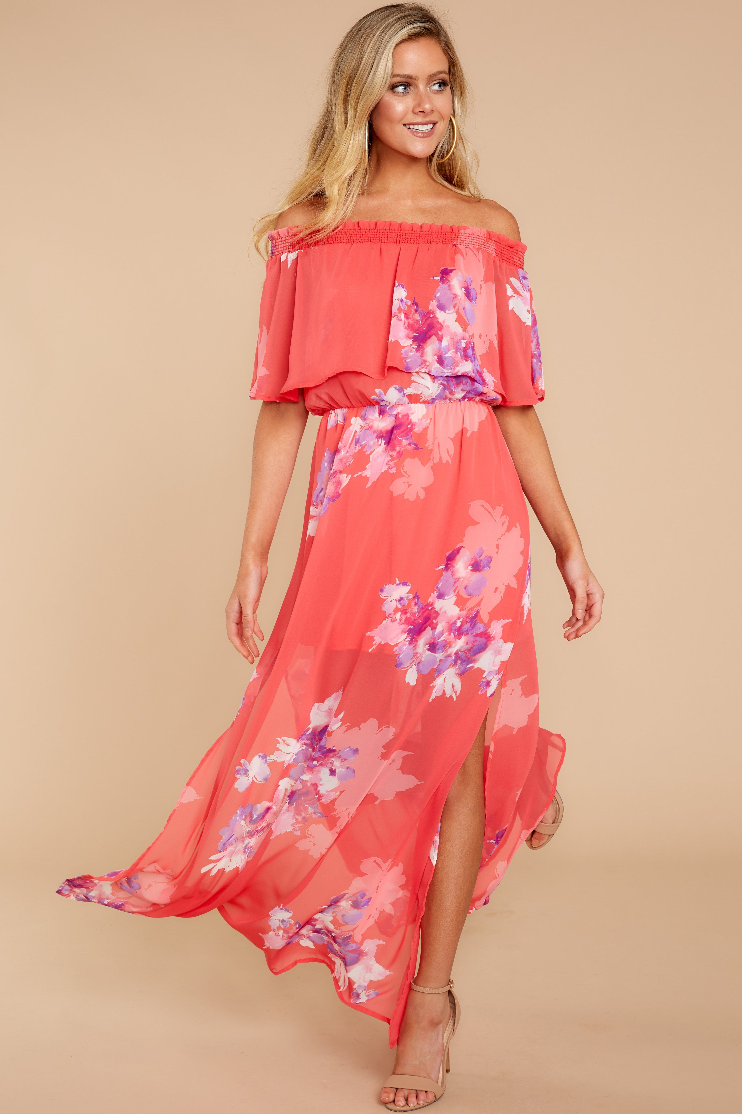 566d5274a7b Trendy Pink Print Maxi Dress - Floral Print Maxi Dress - Dress -  54.00 – Red  Dress Boutique