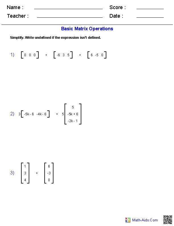 Algebra 2 Worksheets Matrices Worksheets Matrices Math Algebra Worksheets Algebra 2 Worksheets