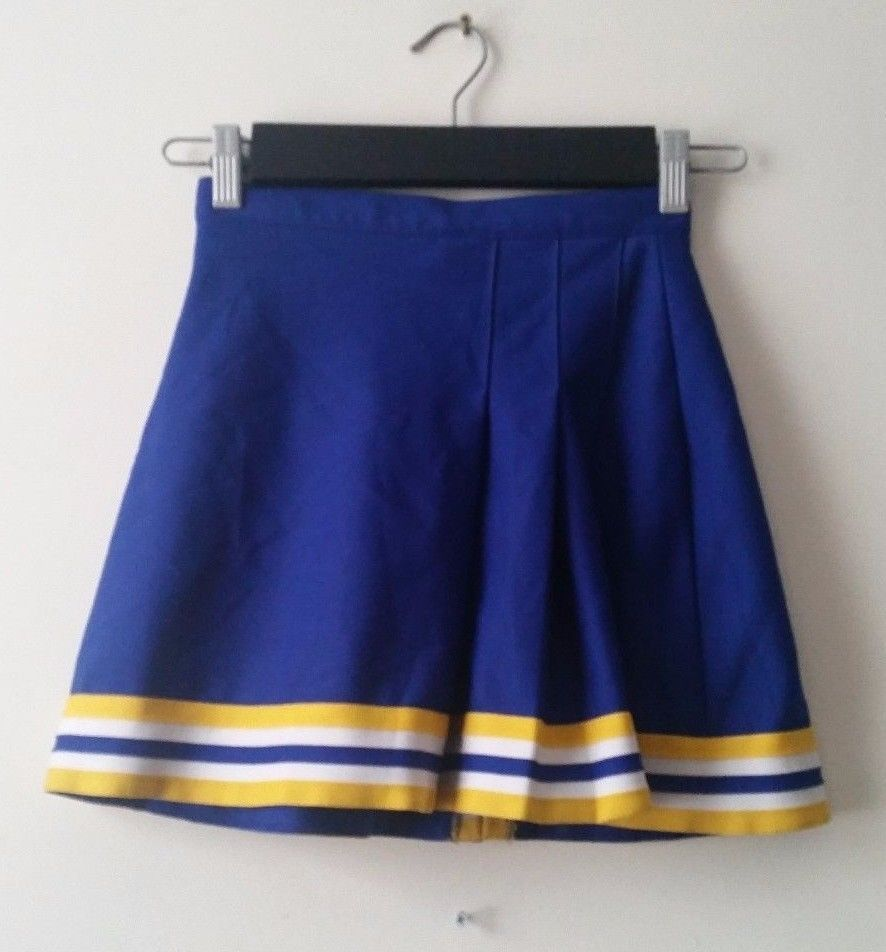 Blue Yellow White Varsity Spirit Cheerleading UNIFORM SKIRT GIRLS Youth Waist 23 | eBay