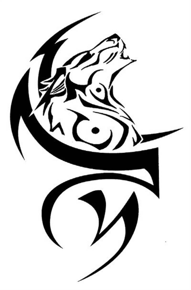 Cool Tribal Wolf Howling With Design Tattoo Stencil