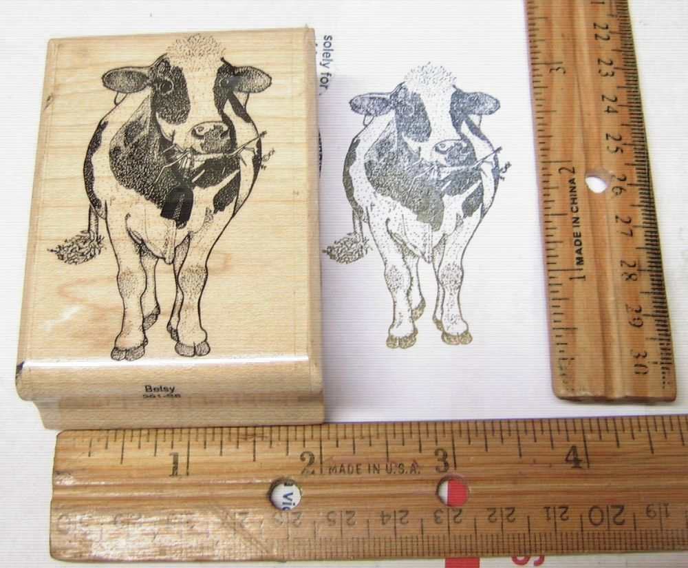BETSY COW 291-S6 FARM ANIMAL BY MOSTLY ANIMALS RUBBER STAMP #mostlyanimals #WOODMOUNTEDRUBBERSTAMP