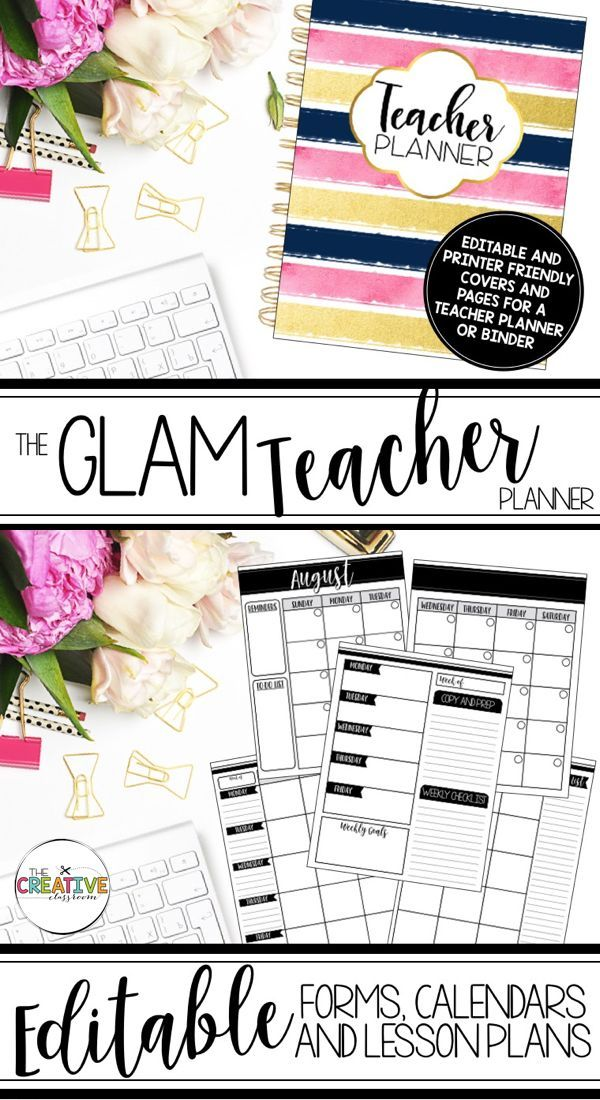Editable Teacher Planner  Organizer Binder {The Glam Teacher