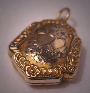 gold fob Vintage Art Nouveau locket