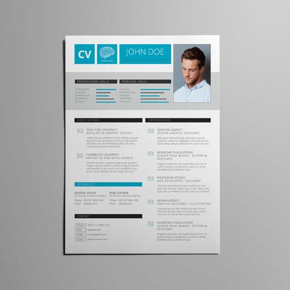 Cv Resume Template V2 Cmyk Print Ready Clean And Corporate Design A4 Portrait Format Single Page Design E Cv Resume Template Resume Template Resume