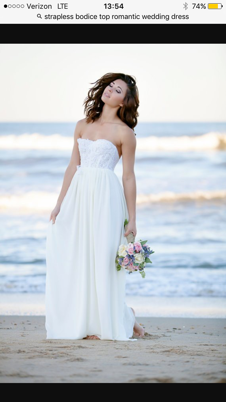 Pin By Molly Rubinstein On Wedding Dresses Chiffon Wedding Dress Beach Strapless Wedding Dress Beach White Bridesmaid Dresses Beach [ 1334 x 750 Pixel ]
