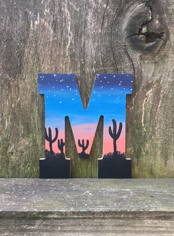 Desert Letters Desert Print Desert Scenery Desert Wall Art Desert Cactus Print Desert Landscape Suns Letter A Crafts Sunset Painting Painted Wood Letters