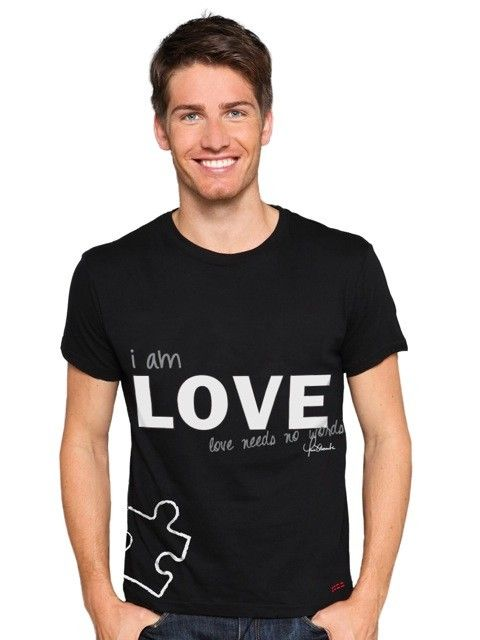 Peace Love World Love Needs No Words Autism Black Crew Neck Tee