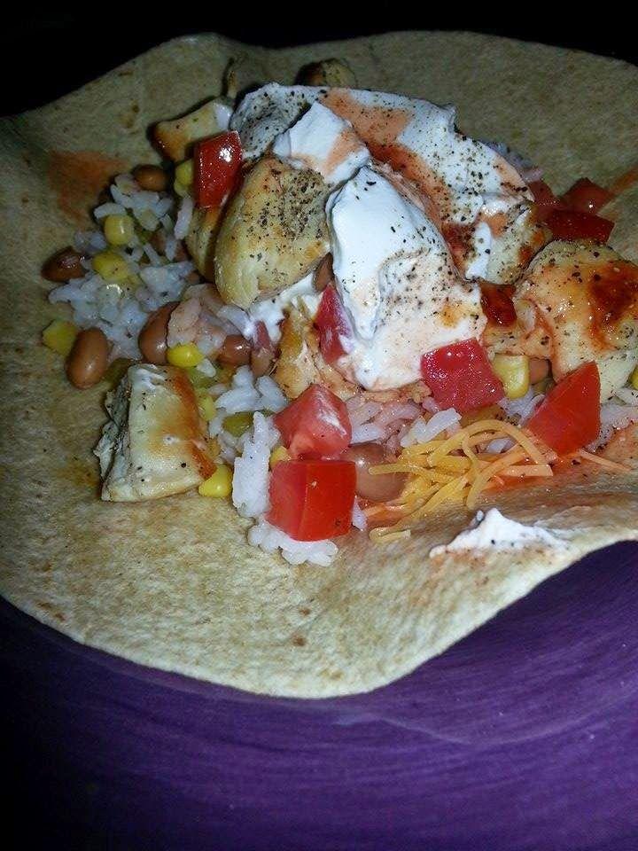 Open-Faced Chicken Burrito
