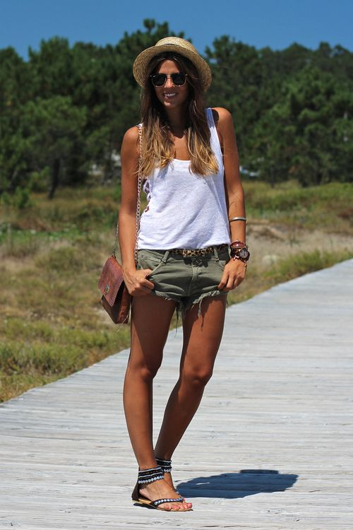 Green shorts, white tank, and gladiator sandals | Warm Weather ...