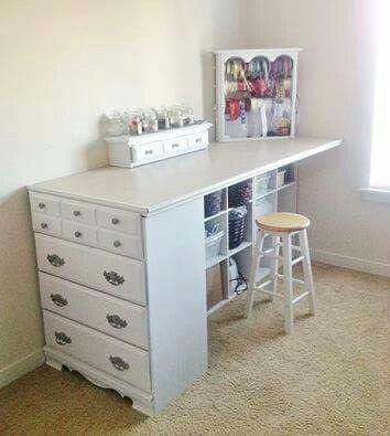 Use An Old Dresser And Cube Storage To Make A Craft Table Furniture Makeover Diy Diy Furniture Furniture Makeover