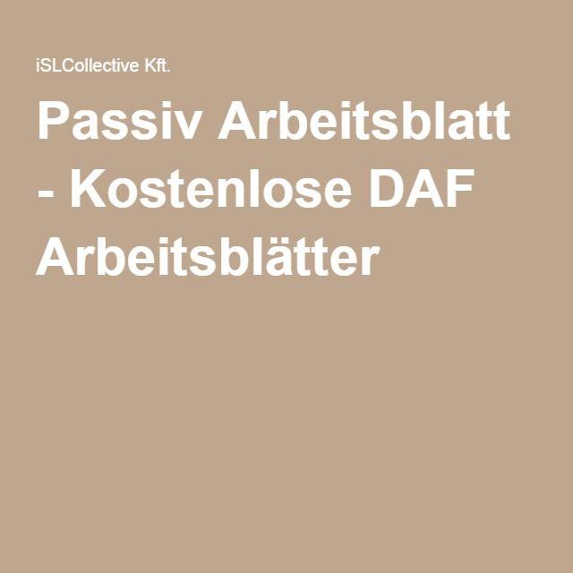 Passiv Arbeitsblatt - Kostenlose DAF Arbeitsblätter