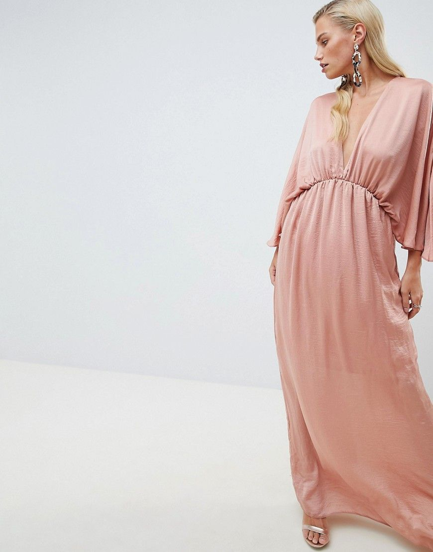 Maxi dresses for wedding guest  Dusty rose kimono maxi dress for fall Gorgeous Navy blue off the