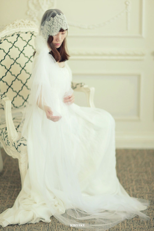 Bohemian mantilla bridal veil with french chantilly lace wedding