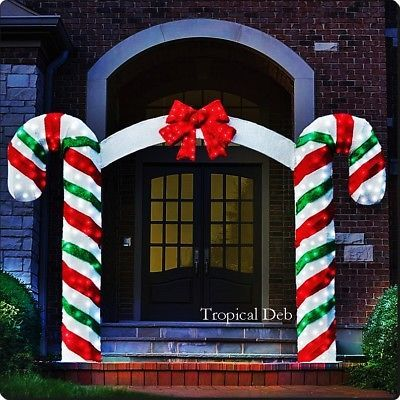 Large Candy Cane Decorations Outdoors Giant 7 Ft Sweet Candy Cane Archway W Red Bow Tinsel Pre Lit