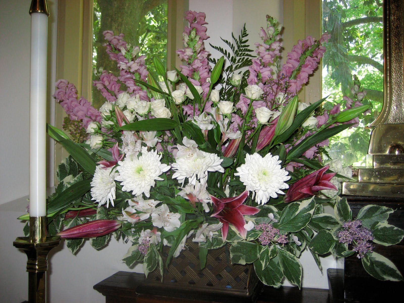 Church Chapel Flower Arrangements | Lacecap hydrangeas out ...