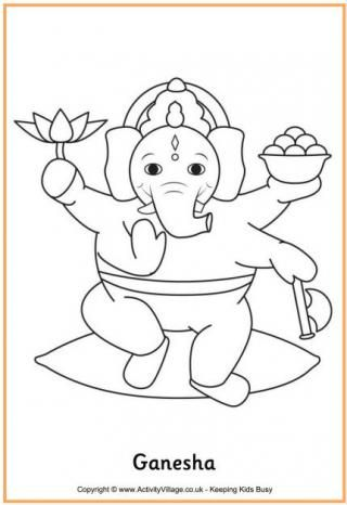 Diwali coloring pages -- Ganesha and others | All About India ...